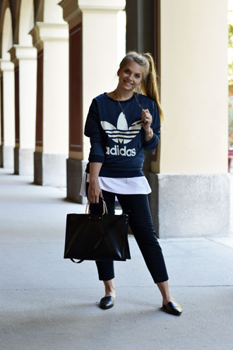 All blue everything: adidas hoodie & slippers
